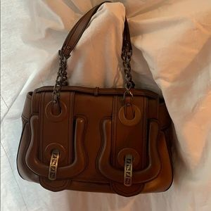 Fendi Borsa Catene Brown Leather Baguette Purse